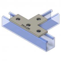Strut Fitting - Flat, FP600 Four-Hole Tee Plate