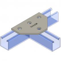 Strut Fitting - Flat, FP601 Four-Hole Tee Plate