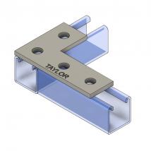 Strut Fitting - Flat, FP604 Four-Hole Corner Plate