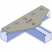 Strut Fitting - Flat, FP800 Six-Hole Tee Gusset