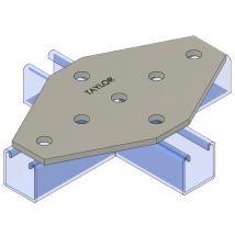 Strut Fitting - Flat, FP900 Seven-Hole Cross Gusset